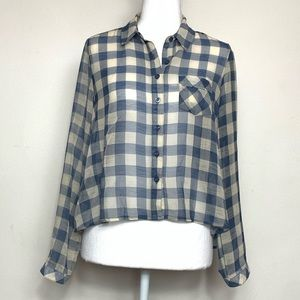 Free People Sheer Plaid Button Up Crop Top Size XS